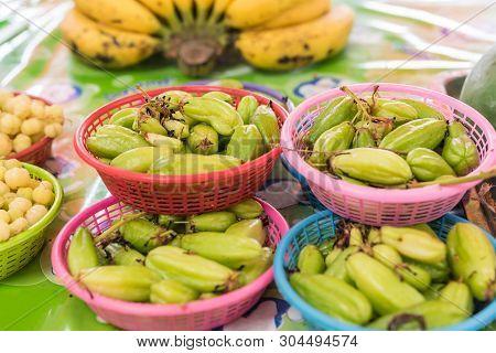 Bilimbi (bilimbing, Cucumber Tree) At Stall Market