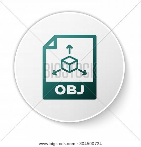 Green Obj File Document Icon. Download Obj Button Icon Isolated On White Background. Obj File Symbol