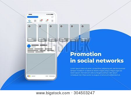Promotion In Social Media. Smartphone With Interface Carousel Post On Social Network. Stories In Soc