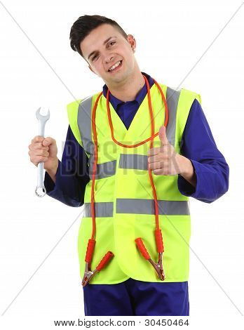 Guy With A Spanner And Cables