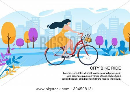 Happy Cartoon Girl Cyclist Ride Bike On City Street Vector Illustration. Woman In Dress With Bicycle