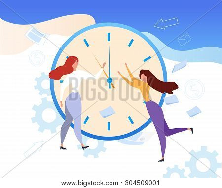 Cartoon Woman Stop Clock Hands. Time Management Vector Illustration. Schedule Control, Work Efficien