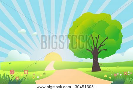 Beautiful Nature Scene In Morning.vector Illustration.meadow With Green Grass , Tree ,flowers ,sun S
