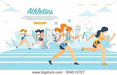 Young Athletics Sportswomen Take Part In Relay Race Running On Stadium With Sticks. Sport Jogging To