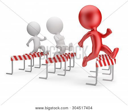 3d Small People - Running With Obstacles. 3d Image. White Background.