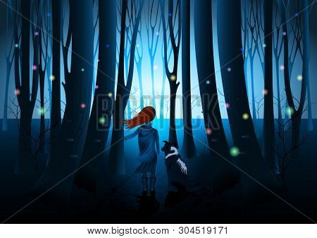 Girl With Dog, Rear View, Flying Multicolored Fireflies In Dark Fantasy Shine Forest. Mysterious Vec