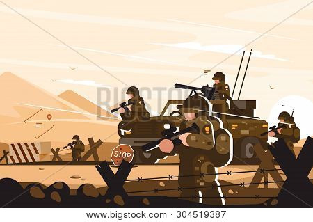 Military Roadblock With Soldiers Vector Illustration. Men