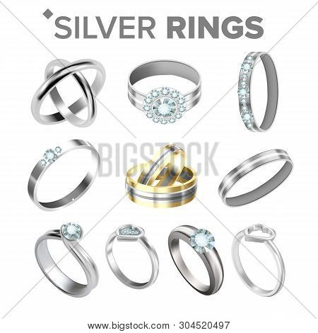 Different Bright Silver Metallic Rings Set Vector. Assortment Collection Of Design Engagement Diamon