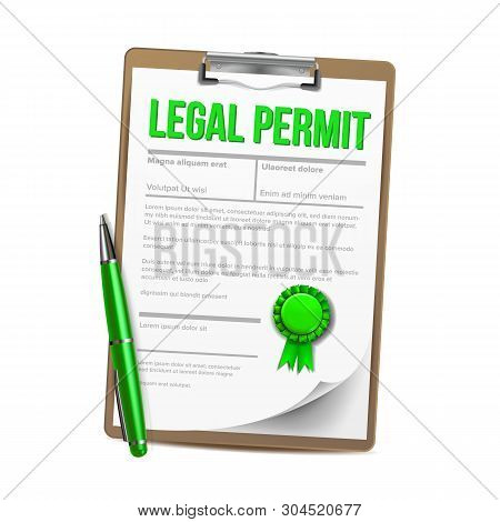 List Of Paper With Legal Permit Clipboard Vector. Colorful Design Template Approved Permit Certifica