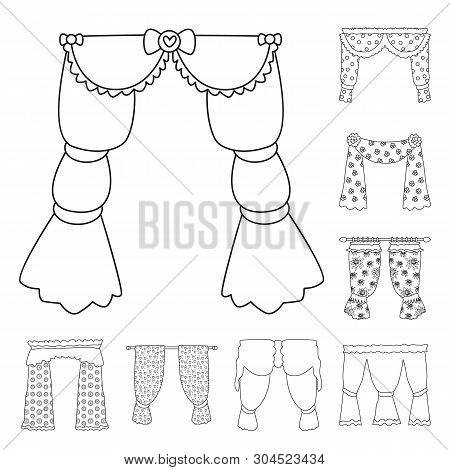 Vector Design Of Fabric And Decoration Icon. Set Of Fabric And Cornice Vector Icon For Stock.