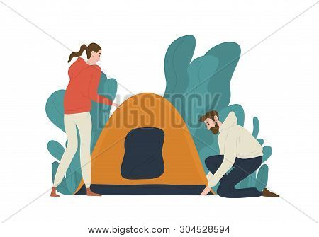 Young Couple Setting Up Tent On Campsite. Pair Of Cute Funny Tourists Isolated On White Background.