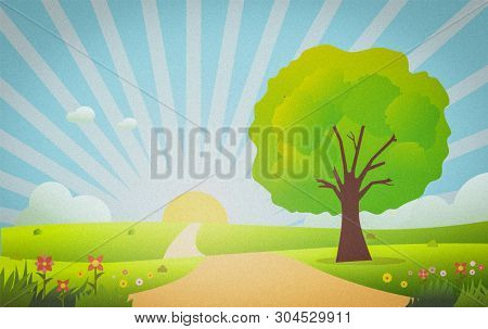 Beautiful Nature Scene In Morning Illustration.meadow With Green Grass , Tree ,flowers ,sun Shiny An