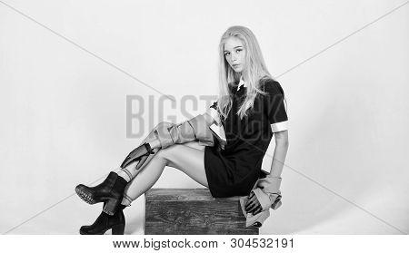 Fashionable Uniform. Vintage And Retro Style. Vintage Fashion Concept. Girl Blonde Wear Elegant Blac