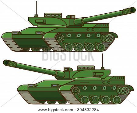 Military Tank.armored Army Combat  Vehicle.artillery Cannon.concept Of Design Of An Icon Of A Milita