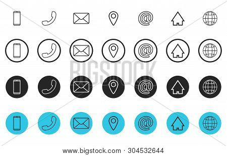 Set Of Line Contact Icons. Button Contacts Of Phone Number Or An Email Address Information. Phone, H
