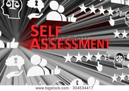 Self Assessment Concept Blurred Background 3d Render Illustration