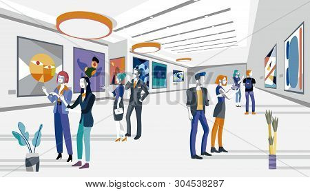 Cool People Looking Modern Abstract Paintings In Art Exhibition. Vector Flat Illustration. Men And W