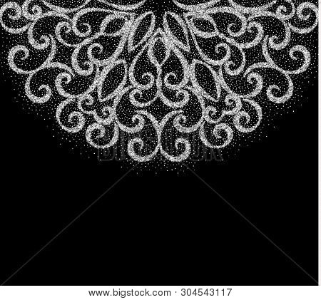 Elegant Vintage Greeting Card With Graceful Ornament From Silver Dust Texture On Black Background. D