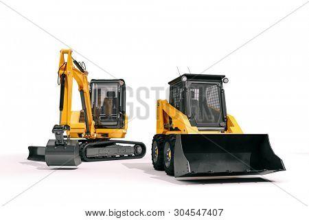 3d bulldozer on white backgorund