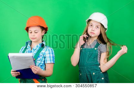 Future Profession. Kids Girls Planning Renovation. Initiative Children Girls Provide Renovation Thei
