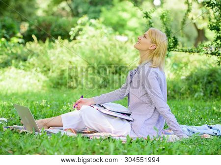 Best Jobs To Work Remotely. Business Lady Freelance Work Outdoors. Remote Job Concept. Stay Free Wit