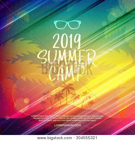 Summer Camp Poster. Vector Design Template With Colorful Abstract Retro Halftone Dotted Background