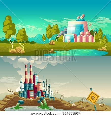 Future, Ecological Production And Modern, Polluting Environment Industrial Technology Cartoon Vector