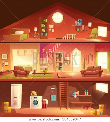 Tree-storey House Or Cottage Cross Section Building Cartoon Vector Interiors Set With Laundry In Bas