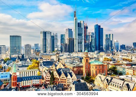 Frankfurt Am Main Financial Business District. Panoramic Aerial View Cityscape Skyline With Skyscrap