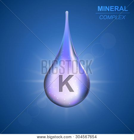 Kalium Mineral Shining Blue Drop Icon .mineral Complex Background