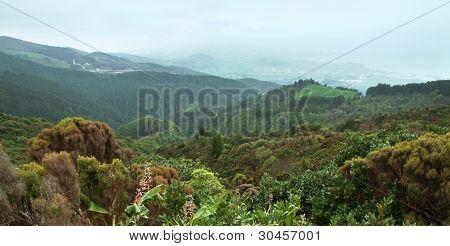 Panoramic Coastal Scenery At The Azores