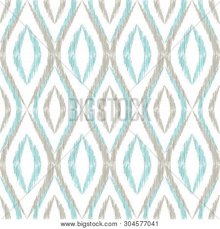 Ikat Ogee Seamless Vector Pattern Design. Ethnic Fabric Print Geometric Ikat Pattern. Cool Ogee Seam