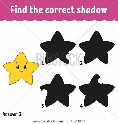 Find the correct shadow. Education developing worksheet. Matching game for kids. Activity page. Puzzle for children. Riddle for preschool. Cute character. Isolated vector illustration. Cartoon style. poster