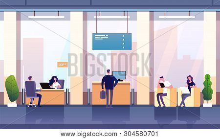 Bank Office Interior. Professional Management Banking Investment. Empty Bank Office Consulting Cente