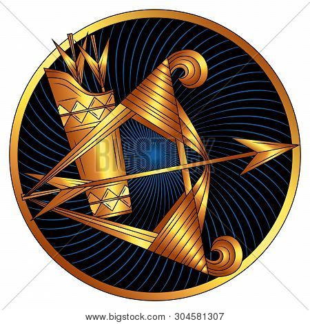 Sagittarius, Zodiac Sign Of Gold, Astrological Icon, Horoscope Symbol. Stylized Graphic Golden Bow A