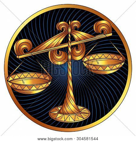 Libra, Zodiac Sign Of Gold, Astrological, Vector Horoscope Symbol. Stylized Graphic Golden Scales Is