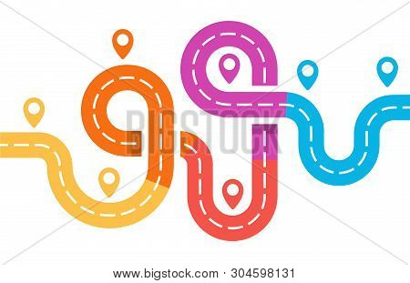 Roadway With Pin, Road Junction Map, Infographic Element, Bright Colorful Vector Illustration On Whi