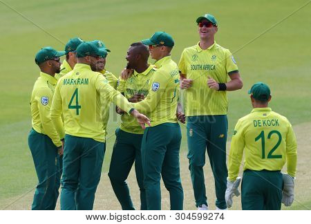LONDON, ENGLAND. 02 JUNE 2019: Andile Phehlukwayo of South Africa celebrates taking the wicket of Tamim Iqbal of Bangladesh during the South Africa v Bangladesh, ICC Cricket World Cup match