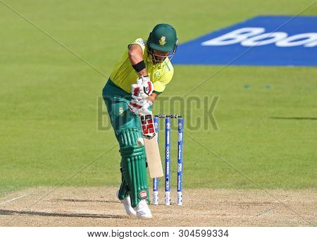 LONDON, ENGLAND. 02 JUNE 2019: JP Duminy of South Africa is given out LBW which was reversed after umpire review carried out, during the South Africa v Bangladesh, ICC Cricket World Cup match