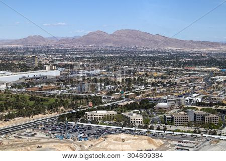 The Frenchman Mountain Looms Over The City Of Las Vegas