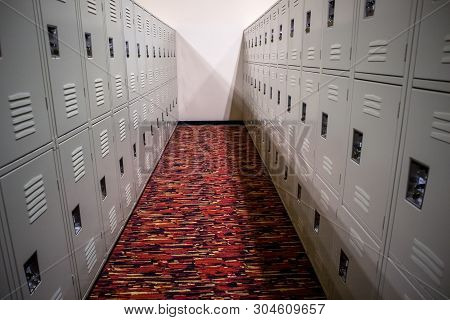 Public Lockers In A Row For Storing Things
