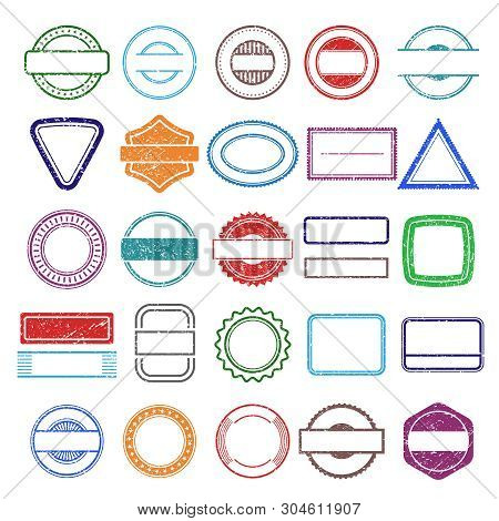 Stamp Rubber Frames. Round And Square Scratching Grunge Shapes Vector Stamp Templates. Illustration