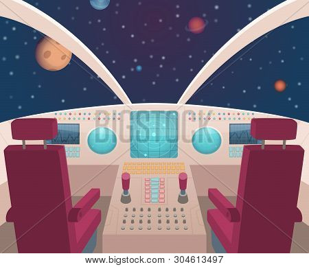 Spaceship Cockpit. Shuttle Inside Interior With Dashboard Panel Vector Illustration In Cartoon Style