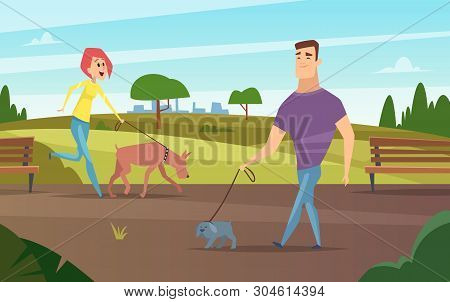 Pets Walking. Animals Happy Owners Outdoor In Park Running Or Cycling With Dogs Activity Vector Back