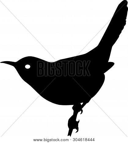 Wren Bird Black Vector Silhouette Clip Art