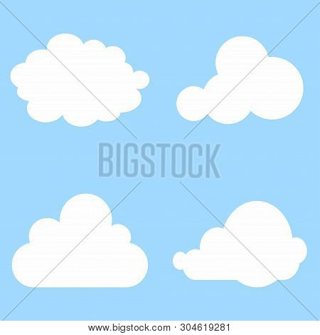 Clouds Collection. Set Of Cloud. Cloud Icon. Blue Background. Vector Illustration. Eps 10.