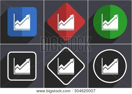 Histogram set of flat design web icons in 6 options