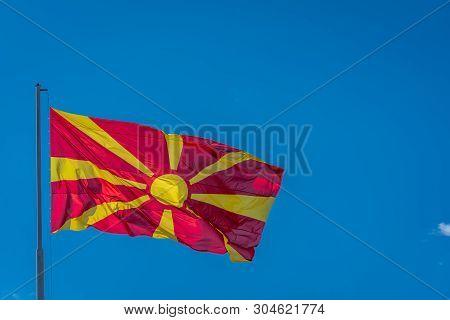 Mast Pole With Macedonian National Flag, Ohrid Town, Northern Macedonia