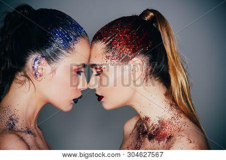 Glamour Girls Model. Fashion Portrait Of Women. Makeup In Modern Fashion Style. Beauty Salon Hairdre