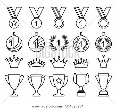 Linear Award Set Of Medal, Cup And Crown. Winner Award, Victory Prize Badge, Vector Illustration